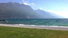 Waves Of Lake Garda At Riva Del Garda, Italy Stock Footage