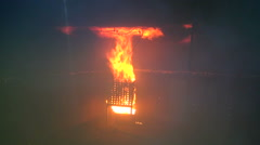 Bright and dangerous fire in the hold. Stock Footage
