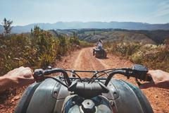 View from a quad bike in nature - stock photo