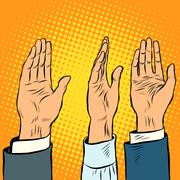 Voting hand picks up a voice of support Stock Illustration