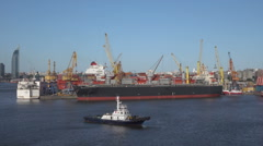 Montevideo harbour with tug and commercial shipping, Uruguay Stock Footage