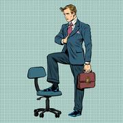 businessman in the pose of Napoleon - stock illustration