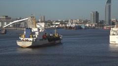 Hang Jun dredger enters Montevideo harbor, Uruguay Stock Footage