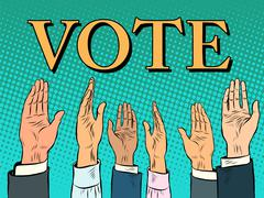 Voting hand picks up a voice of support - stock illustration