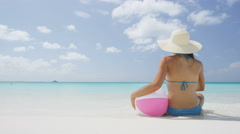 Beach Travel Vacation Holidays Concept Woman Relaxing Sunbathing - stock footage