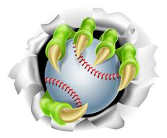 Claw with Baseball Ball Breaking out Of Background - stock illustration