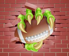 Claw with Football Ball Breaking Through Brick Wall Stock Illustration