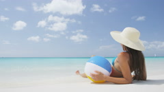 Relaxing Beach Woman Lying In Sand On Sea Shore On Travel Vacation Holidays Stock Footage
