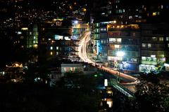 Gangtok at night, Sikkim, India Stock Photos
