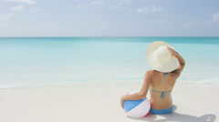 Travel Vacation Holidays Sensuous Woman Holding Ball On Shore Stock Footage