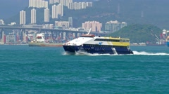 High-speed ferry boat in the harbor of Hong Kong - stock footage