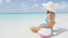 Beach Lifestyle Woman Resting In Bikini on Holiday On Travel Vacation Getaway - stock footage