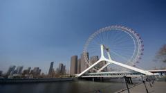 Time lapse of Tianjin ferris wheel,Tianjin eye. Stock Footage