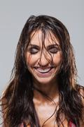 Woman looking euphoric - stock photo
