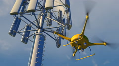 Drone inspecting a cellular phone tower, 3D animation Stock Footage