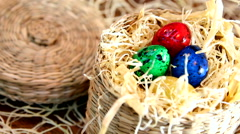 Easter colored quail eggs Stock Footage