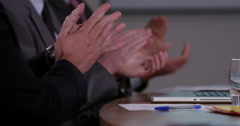 4k, smiling business people applauding at the end of a presentation. Slow motion Stock Footage