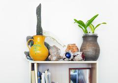 Clay pot,, horse jaw, pitcher, flowers, books and various ceramic items on wo - stock photo