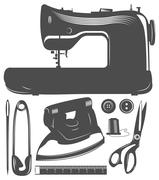 Set of tailor tools. Sewing machine, needle, ,iron, scissors and buttons. - stock illustration