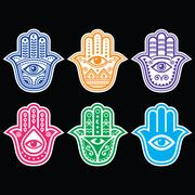 Hamsa hand, Hand of Fatima - amulet, symbol of protection from devil eye - stock illustration