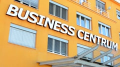 View of the business center in the city - entrance with penthouse Stock Footage