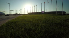Olympic Park in Sochi in backlight sun Stock Footage