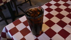 Soda in Glass Cup on Table in Restaurant, 4K Stock Footage
