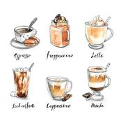 Collection of different coffee - espresso, frappuccino, latte, iced coffee Stock Illustration