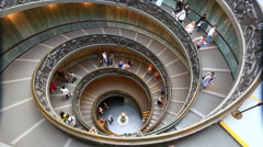Spiral stairs of the Vatican Museums in Vatican in Rome, Italy. Stock Footage