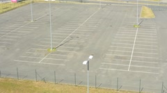 Large parking slots in the city with underground parking - look from above Stock Footage