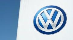 Volkswagen brand logo - outdoor look Stock Footage