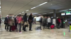 People queue up and pass through automatic boarding gate, time lapse shot - stock footage