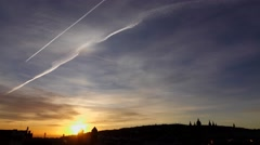 Cirrostratus clouds, sunrise time lapse, aircraft contrails cross sky, sun go up Stock Footage