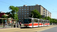 View of the streetcar station in the city Stock Footage
