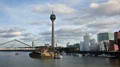Dusseldorf cityscape with view on media harbor, Germany Stock Footage