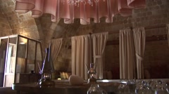 Hamam Omerye Turkish Steam Baths, Nicosia - tilt down chandelier Stock Footage