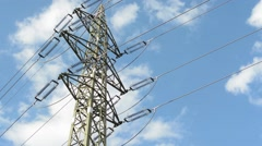 View of the tall electrical tower in the nature - see blue sky Stock Footage