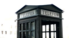 View of the old phone booth in the center of the square Stock Footage