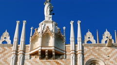 Buildings detail from Doges Palace on San Marco square, Venice, Italy Stock Footage