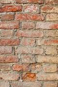 grunge texture of old brick wall closeup - stock photo