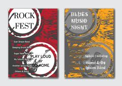 Vector rock, jazz or blues music poster templates set. - stock illustration
