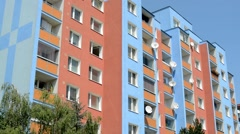 View of the same modern prefab houses in the city Stock Footage