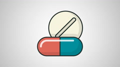 4K - Pills icon symbol round logo Stock Footage