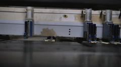 Plywood on the saw machine Stock Footage