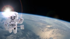 Astronaut in space - elements of this image furnished by NASA - stock footage