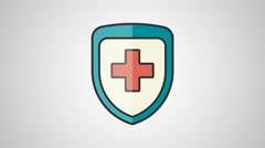 4K - Medecine shield icon symbol round logo Stock Footage