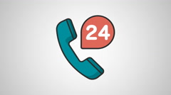 4K - 24 hours help icon symbol round logo Stock Footage