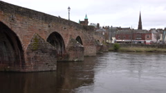 Dumfries River Nith Bridge Scotland 4K Stock Footage