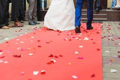 bride and groom on red carpet - stock photo