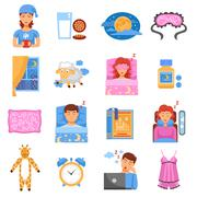 Healthy Sleep Flat Icons Set - stock illustration